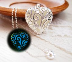 Glow in the dark Jewelry, 'Glow- in- the- dark' Necklace, Glowing Necklace, Sterling silver plated necklace, Glowing pendant