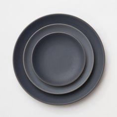 NEW Heath Ceramics dinnerware in Indigo/Slate just in time for a fall! // Casa d. Ceramic Tableware, Porcelain Ceramics, Ceramic Mugs, Ceramic Pottery, Kitchenware, Grey Dinnerware, Dinnerware Sets, Grey Dinner Plates, Dinner Sets