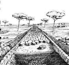 Construction of a Roman roadway. Image via Walt Stevenson, University of Richmond Ancient Rome, Ancient Greece, Ancient Art, Ancient History, Roman History, Art History, Road Drawing, University Of Richmond, Roman Roads