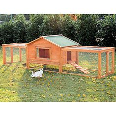 PawHut Large Wooden Rabbit Hutch Chicken Coop House Habitat with Ramp Run