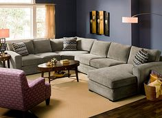 Artemis II Contemporary Living Room Collection Raymour and Flanigan; microfiber; color - gypsy vintage : sectional sofas raymour and flanigan - Sectionals, Sofas & Couches