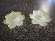 PAIR OF GOLD VOTIVE CANDLE HOLDERS GLASS FLOWER SHAPED~I EXCELLENT CONDITION!