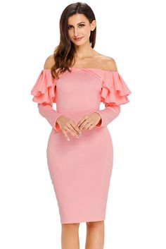Sheinside Pink Batwing Sleeve Twist Detail Slit Glitter Dress V Neck Short Sleeve Party Dresses Women 2019 Summer Pencil Dress Factory Direct Selling Price Women's Clothing
