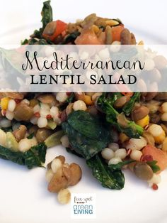 Healthy Meal Plans Week of March 30 / Mediterranean Lentil Salad / Easy Spaghetti Bake / Potato and Onion Frittata / Simple Baked Salmon / C...