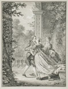 """""""The First Kiss of Love,"""" Noel Le Mire, engraving, 1773, French."""