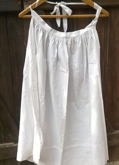 Long #Victorian apron. Antique French handmade white cotton half apron. Tall 38 in. = 97 cm  Top width 16 in. = 41 cm  Bottom…
