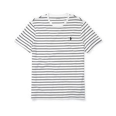 Polo Ralph Lauren Striped Cotton Jersey T-Shirt ($25) ❤ liked on Polyvore featuring men's fashion, men's clothing, men's shirts, men's t-shirts, shirts, tops, white shirts, mens black white striped shirt, mens crew neck t shirts and mens striped t shirt