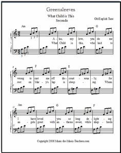 "Greensleeves piano sheet music for beginners, or ""What Child is This"" Christmas music. Download this beginning piano music with chords for your students, FREE!"