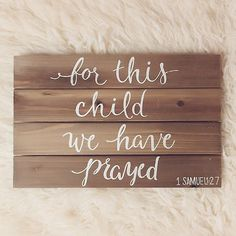 For this Child We have Prayed Hand-Lettered 1 by kimmschnell Baby Shower Deco, Baby Shower Gifts, Baby Gifts, 1 Samuel 1 27, Scripture Wall Art, Baby Boy Rooms, Baby Bedroom, Graphic Design Services, Diy Signs