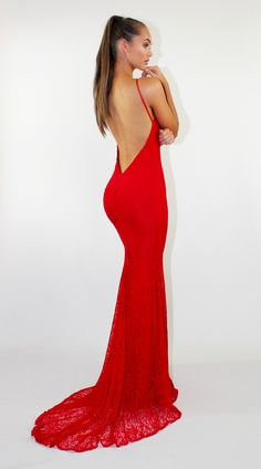 Reckless Red backless lace formal/prom dress by STUDIO MINC
