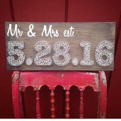 """#tbt to our first ever """"Mr. &I Mrs. est."""" sign! 👰🏽🤵🏻We must have done 50 of these since then! 😮 #wedding #mrandmrs #married #anniversary #date #gift #bride #groom #wife #husband #rustic #handmade #gorgeous #happy #church #love #lovers #engaged #family #friends #commitment #passion #romance #crookedtreetraders #maine #madeinmaine"""