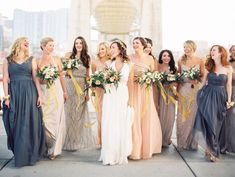Love the beauty and variance of bridesmaids dresses here! Taylor Lord, Fine Art and Editorial Film Wedding Photographer http://www.taylorlord.com/blog/organic-industrial-wedding