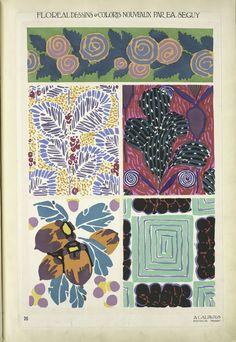 Five plant form designs,Séguy, E. A.  Pochoir prints, Floréal dessins & coloris nouveaux.