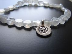 Om Moonstone Bracelet - Healing bracelet -Rebirth Inner peace Yoga Jewelry - Gifts with meaning