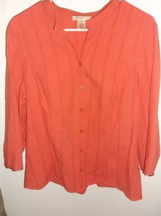 Womens Bouse Top Size 16 Nine & Company Coral Tie In Back 3/4 Sleeve Button Down #NineCo #Blouse #Career