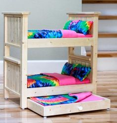 Make your own doll bed for American Girl Doll or other Doll. This sturdy wood doll bed is quick and easy and inexpensive to make. Free step by step plans to DIY a doll bed for your American Girl. American Girl Furniture, Girls Furniture, Diy Barbie Furniture, Furniture Plans, Building Furniture, Farmhouse Furniture, Ikea Furniture, Furniture Design, Plywood Furniture