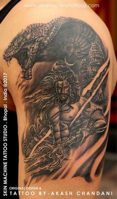 Lord Shiva custom designed by : Akash Chandani Skin Machine Tattoo Studio Email for appointments : skinmachineteam Hindu Tattoos, God Tattoos, Body Art Tattoos, Tattoos For Guys, Tatoos, Tattoo Studio, Ma Tattoo, Lotus Tattoo, Lord Shiva