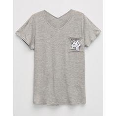 Full Tilt Unicorn Girls Pocket Tee (£4.67) ❤ liked on Polyvore featuring tops, t-shirts, v neck pocket t shirts, dolman tee, graphic pocket tees, v neck tee and unicorn tee