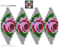 created using Schachenmayr Julekuler Designer Beaded Beads, Beaded Jewelry Patterns, Beaded Ornaments, Beading Patterns, Crochet Patterns, Beaded Cross Stitch, Cross Stitch Rose, Cross Stitch Flowers, Cross Stitch Patterns
