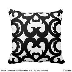 Heart Fretwork Scroll Pattern in Black and White Pillows