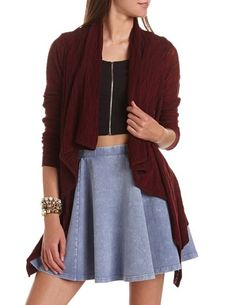 Open-Knit Draped Cardigan: Charlotte Russe