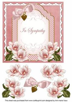 Pink Magnolia In Sympathy Fancy 7in Decoupage Topper on Craftsuprint - Add To Basket!