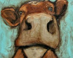 Inspiration. COW Animal Farm Folk Art with colored pencils or oil pastels.