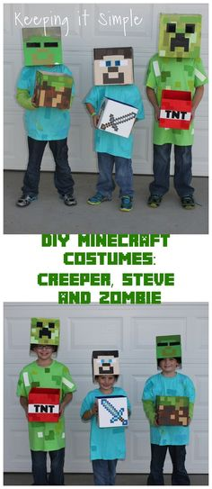 DIY Minecraft Costumes- Creeper, Steve and Zombie. Tutorial on how to make them into a mask or a hat and with a treat box.