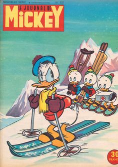 """Le Journal de Mickey"" vintage magazine cover, 1950 - ""Donald on Skis"" vintage print"