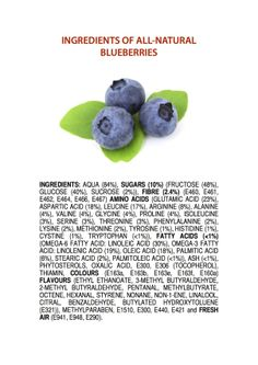 Ingredients of All-Natural Blueberries