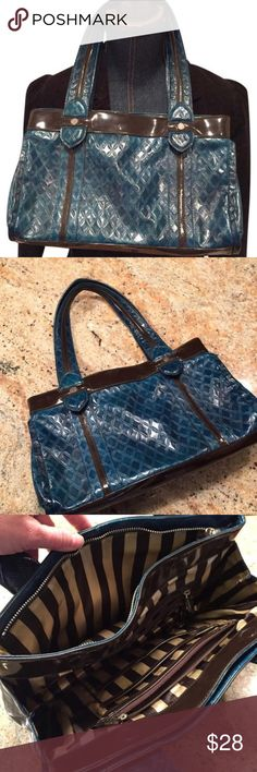 Kate Landry patten leather quilted handbag Kate Landry patten leather quilted handbag great preloved condition with striped satin lining multi slots dark turquoise and brown Kate Landry Bags