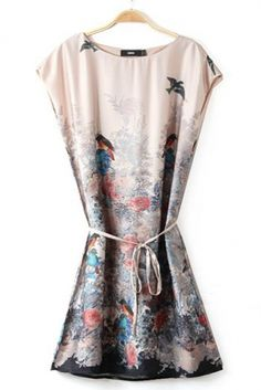 Apricot Sleeveless Floral Print Dress