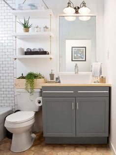20 bathroom storage over toilet organization ideas. You have a small bathroom and you don't have idea how to design it? A small bathroom can look great and be fully functional as the large bathrooms. Bathroom Storage Over Toilet, Toilet Shelves, Lowes Bathroom, Bathroom Hacks, Bathroom Plants, Above The Toilet Storage, Hanging Bathroom Shelves, Wall Shelves, Small Bathroom Cabinets