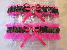 Hot Pink Camo Wedding Garter Set Deer Buck Charms Camouflage