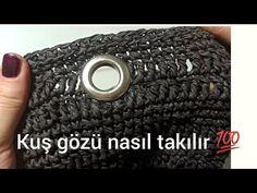 Örgü çantalara kuş gözü nasıl takılır 💯kendi kuşgözünü kendin yap💯DIY/CROCHETBAG - YouTube Crochet Handbags, Monogram, Knitting, Pattern, Macrame, Youtube, Crochet Pouch, Amigurumi, Tejidos