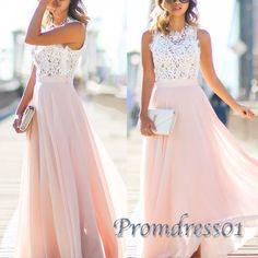 Elegant round neck white mesh  + pink chiffon prom dress, 2016 long prom dresses for teens