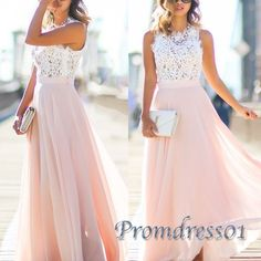 Elegant round neck white mesh  + pink chiffon prom dress, 2016 long prom dresses for teens