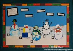 Adventures of an Art Teacher: Art History Snowmen Bulletin Board
