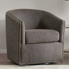 Sit back and relax in this stylish swivel arm chair from Madison Park. Swivel Barrel Chair, Swivel Armchair, Wingback Chair, Sofa, Solid Wood Dining Chairs, Upholstered Dining Chairs, Dining Chair Set, Arm Chairs, Reading Nook Chair
