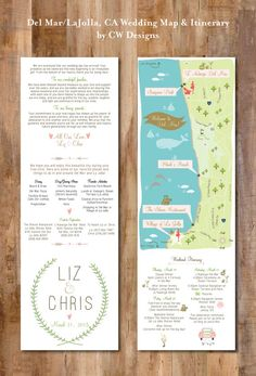 Coastal Wedding Map Infographic with Itinerary by cwdesigns2010