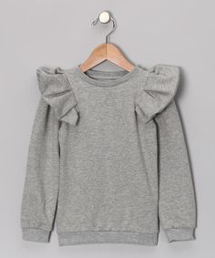 Take a look at this Gray Ruffle Sweatshirt - Infant, Toddler & Girls by The Brand on today! -- i feel another diy happening here Fashion Kids, Little Girl Fashion, Toddler Fashion, Baby Outfits, Toddler Outfits, Kids Outfits, Inspiration Mode, Kid Styles, Sweat Shirt