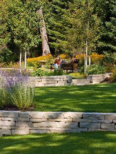 Tiered Landscape Design, Pictures, Remodel, Decor and Ideas Terraced Backyard, Hillside Landscaping, Outdoor Landscaping, Outdoor Gardens, Landscaping Ideas, Residential Landscaping, Patio Ideas, Tiered Landscape, Landscape Walls