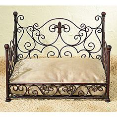 Custom made wrought iron dog cat pet bed doggies fireplaces and taps - Fleur de lis bed sheets ...