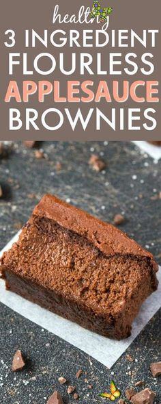 Healthy 3 Ingredient FLOURLESS Applesauce Brownies- SO easy, simple and super fudgy- NO butter, NO flour, NO sugar and NO oil needed at all! {vegan, gluten free, paleo recipe}- thebigmansworld.com<br> Healthy Vegan Dessert, Cake Vegan, Vegan Dessert Recipes, Gourmet Recipes, Jello Recipes, Healthy Recipes, Easy Recipes, Healthy Eating, Easy Gluten Free Desserts
