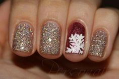 Glitter with red accent nail