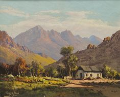 Artwork by Tinus de Jongh, Landscape, Sunlit Cottage among Trees in the Boland, Made of Oil on canvas Landscape Art, Landscape Paintings, Landscape Photography, South Africa Art, African Tree, African Paintings, Romance Art, Street Painting, South African Artists