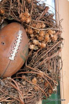 fall wreath with a football.fall means football Fall Football, Football Wreath, Football Season, Football Crafts, Football Snacks, College Football, Fall Wreaths, Door Wreaths, Super Bowl