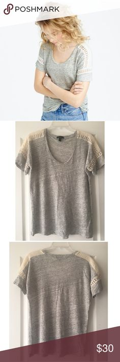 J Crew Embroidered Linen & Lace Top Sz M Grey J Crew Sz M In excellent condition, worn once. 100% linen, lightweight slub. Pintuck & Lace detail on shoulders and cuffs. J. Crew Tops Blouses