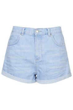 MOTO Bright Blue Rosa Shorts MOTO bright blue wash denim mid-rise shorts with turn-up hem. 100% Cotton. Machine wash.  Colour:  LIGHT BLUE Item code:  05A10HBLE
