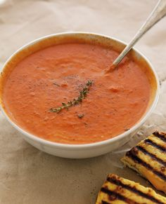 The Iron You: Creamy Tomato Soup + Cauliflower Crust Grilled Cheese
